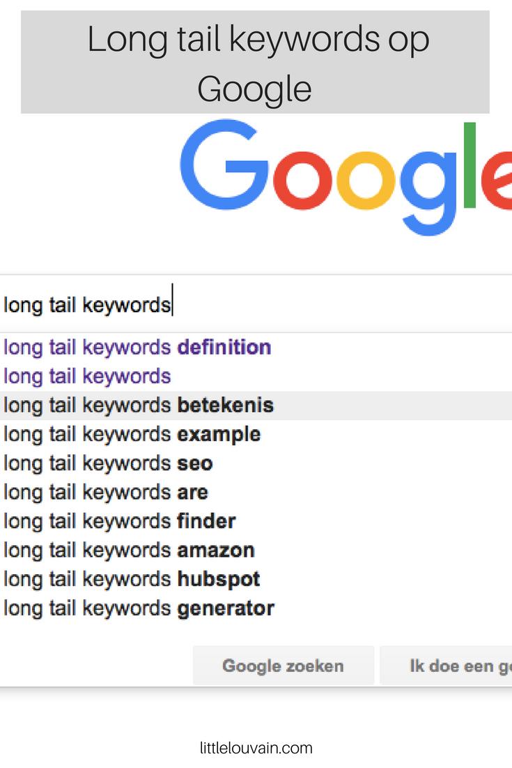 Long tail zoekwoorden vinden op google