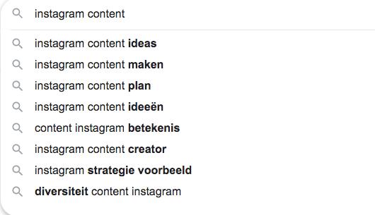 Zoekwoorden via google content